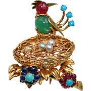 Vintage 18k Gold & Multi-Stone Bird Brooch