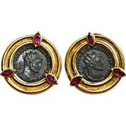 Ancient Roman Coin Clip on Earrings