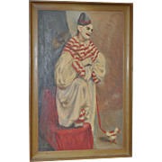 REDUCED Vintage Clown Painting by Mary Pedri c.1940s