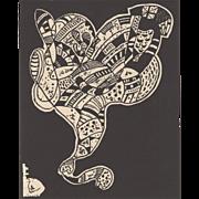 REDUCED Wassily Kandinsky Woodcut c.1960s