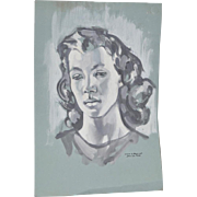 "William Littlefield ""Woman"" Original Gouache on Paper c.1940s"