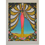 Stunning Art Deco Style Serigraph by French Artist IBOS c.1983