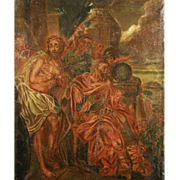 Old Oil Painting of Jesus - Religious Scene
