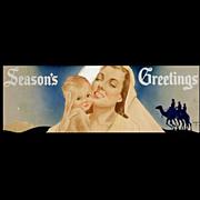 Seasons Greetings Watercolor Illustration by Robert Edmund Lee c.1950