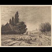 Joseph Foxcroft Cole Etching c. 1879