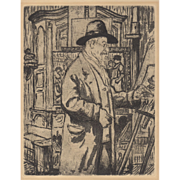 Etching of Maximillien Luce by Victor Joseph Roux-Champion