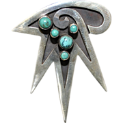 Vintage Mexican Sterling Silver and Turquoise Brooch c.1950's