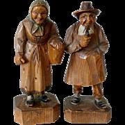 A Pair Of Vintage Wooden Carved Bavarian/Black Forest Figures