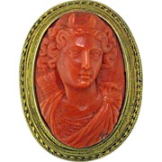 SOLD Victorian Coral 18 Karat Gold Cameo - Red Tag Sale Item