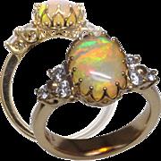 Opal & Diamond Designer 14K Ring