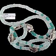 Aquamarine & Apatite Sterling Silver Fish Necklace