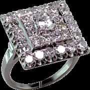 Retro Diamond Platinum Cocktail Ring