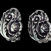 Kirk & Son Rose Sterling Silver Earrings