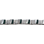 """Sterling Silver Articulating Mother of Pearl and Green Jasper Inlay Bracelet 7"""""""