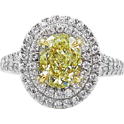 Vintage GIA 2.78ct Fancy Yellow Oval Diamond Engagement Platinum Ring