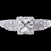 Art Deco GIA 1.00ct Asscher Diamond Engagement Platinum Ring