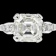 Art Deco 4.34ct Asscher Diamond Engagement Ring EGL USA