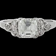Art Deco GIA 1.46ct Asscher Diamond Engagement Platinum Ring