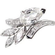 Vintage GIA 1.90ct Old Pear Diamond Fashion Right Hand Platinum Ring