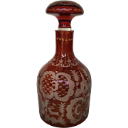 Bohemian Egermann Ruby Cut to Clear Wheel Cut Baroque Crystal Glass Decanter with Stopper Deer