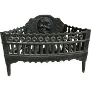 Fabulous Antique Unusual Cast Iron Winking Moon and Stars Fire Basket Fireplace Insert