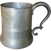 Antique 1891 Harvard Rowing Club Pewter Trophy Tankard Mug with Glass Bottom
