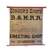 SALE Antique B & M Railroad Erecting Shop Banner Sign Concord NH with Original Drawing ...