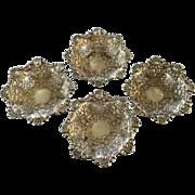 Antique 1905 Set of Four Sterling Silver Repousse Pierced Robert Pringle English Bonbon Nut ..