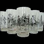 SOLD Vintage Set 8 Highball Glasses American Independence July 4