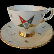 Freemason Masonic Order of the Eastern Star Gilt Teacup and Saucer Set by Tuscan England ...