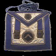Past Worshipful Master Freemason Silver Bullion Embroidered Apron Dated 1876 Boston