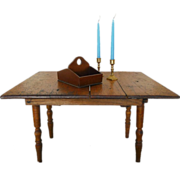 Antique Handmade Doll Farm Table Built to Accommodate a Leaf (Leaf Missing)