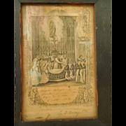 Framed 1862 First Communion Certificate, Belanger, L'eglise de L'Islet, Quebec, Canada