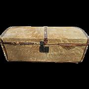 "Antique Circa 1800 Deerskin Hide Covered 30"" L Dome Top Trunk by Daniel Plumer Newburypor"