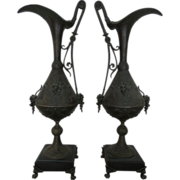 SOLD Elegant Pair Antique Art Nouveau Tall Bronzed Spelter Decorative Ewers
