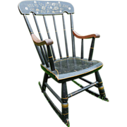 SALE Sweet Early 1900s Vintage Child's Stenciled Armed Boston Rocker Rocking Chair