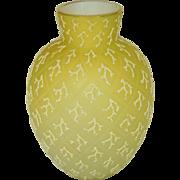 Antique Victorian Brilliant Lemon Yellow Diamond Quilted Coralene Glass Beaded Gilt Rim Vase