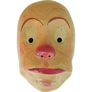 Vintage 1950s Paper Mache Hand Painted Halloween Clown Character Face Mask