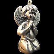 Sterling Silver Praying Angel Christmas Ornament by R. M. Trush 1972