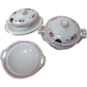 3 Pieces Antique Porcelain Child's Doll Dishes White with Pink and Gold Trim