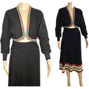 Vintage 1950s Suit  .  Sweater Skirt .  Matching Bolero Jacket