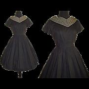 Vintage 1950s Dress  .  Couture  .  Full Circle Skirt  .  Black  .  Femme Fatale Garden Party