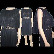 Vintage 1950s Dress . Couture . Black . Wiggle . Cocktail Dress . Mad Man . Femme-Fatale ...