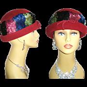 Vintage 1950s Hat .  Lucila Mendez .  High Fashion  . Burgundy  . Designer  . Feathers