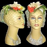 SOLD Vintage 1960s Hat . High Fashion . Wedding Veil . Hollywood Garden Party