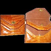 Vintage 1950s Purse . Alligator Purse . Clutch . Handbag