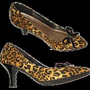 Vintage Stiletto Heels . Faux Leopard .