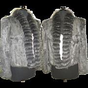 Vintage Rabbit Fox Fur Jacket . Real Fur Coat . Silver