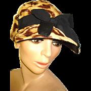 Vintage Leopard Faux Fur Hat  .  Mad Men Garden Party Rockabilly