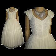 1950s Wedding Dress . 50s Wedding Gown . Chiffon . Ruched Bodice . Wedding . Glamorous